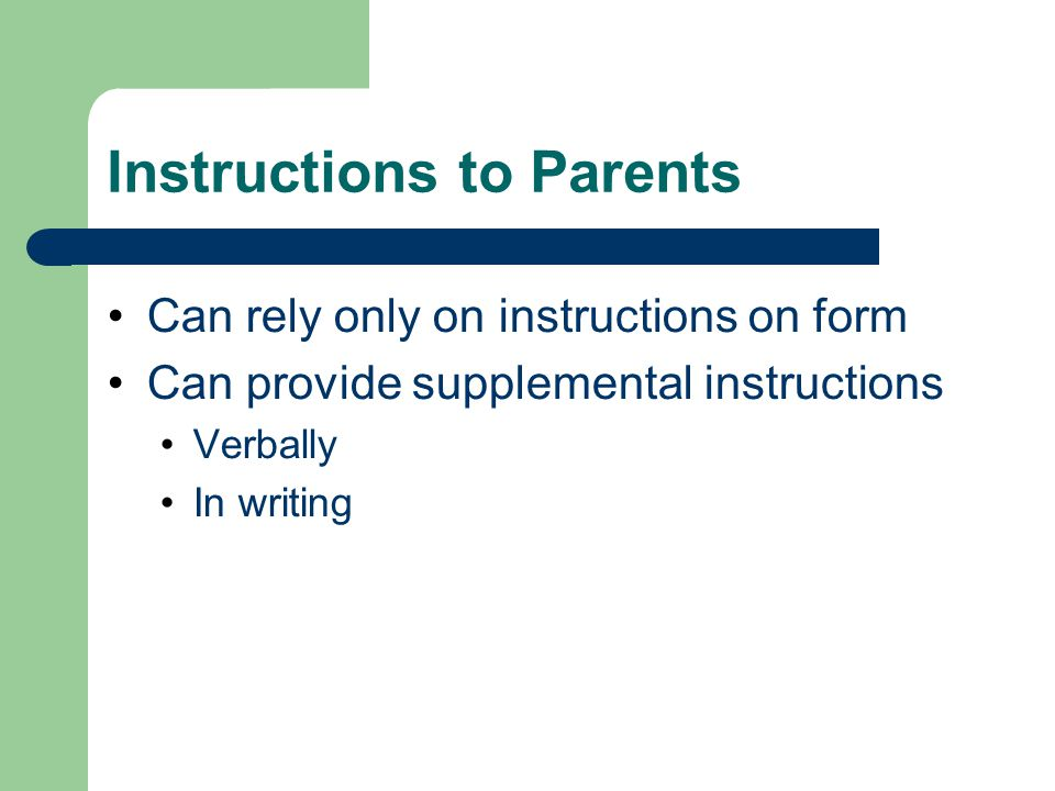 Instructions to Parents