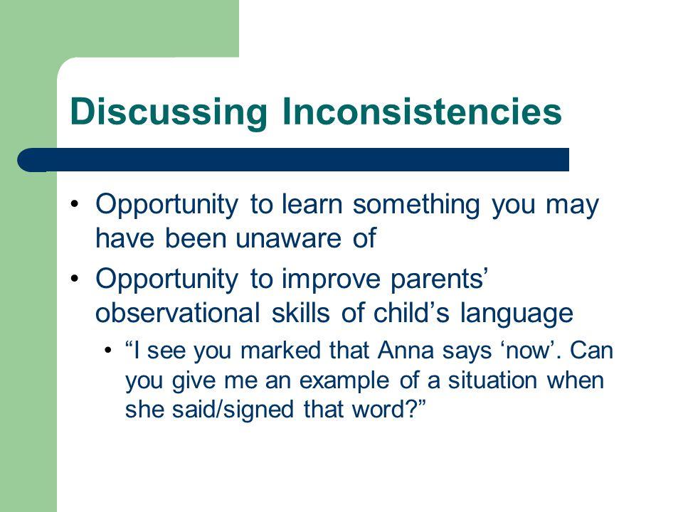 Discussing Inconsistencies