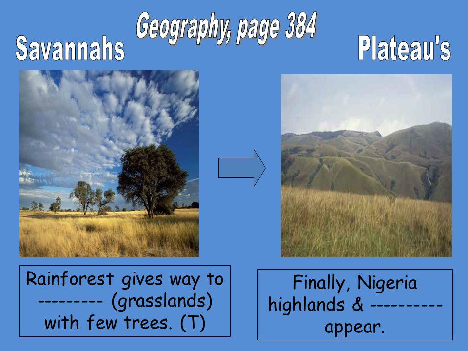 Geography, page 384 Savannahs Plateau s