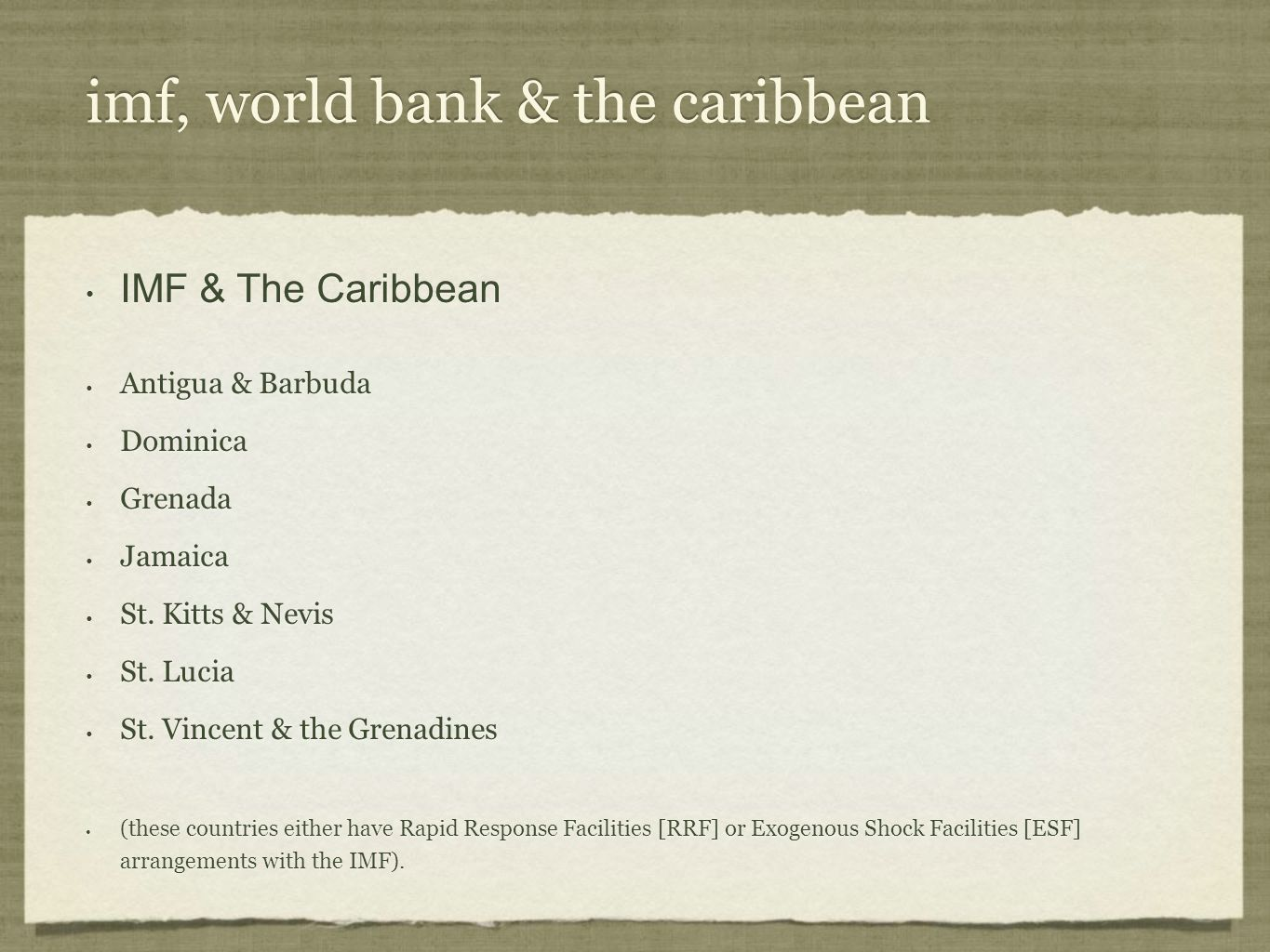 imf, world bank & the caribbean