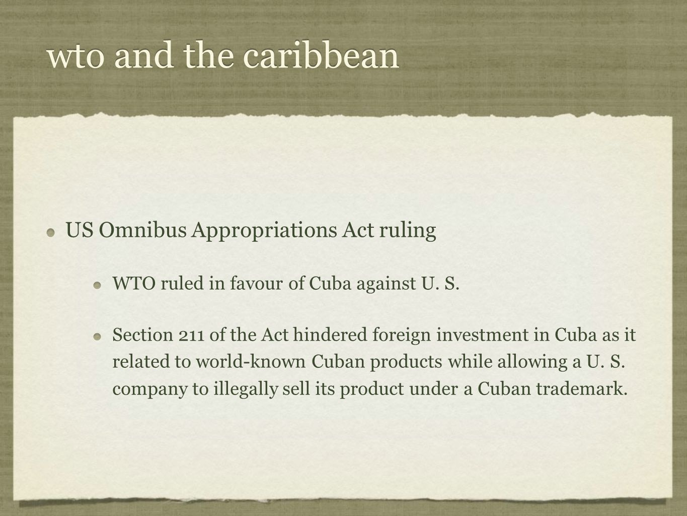 wto and the caribbean US Omnibus Appropriations Act ruling