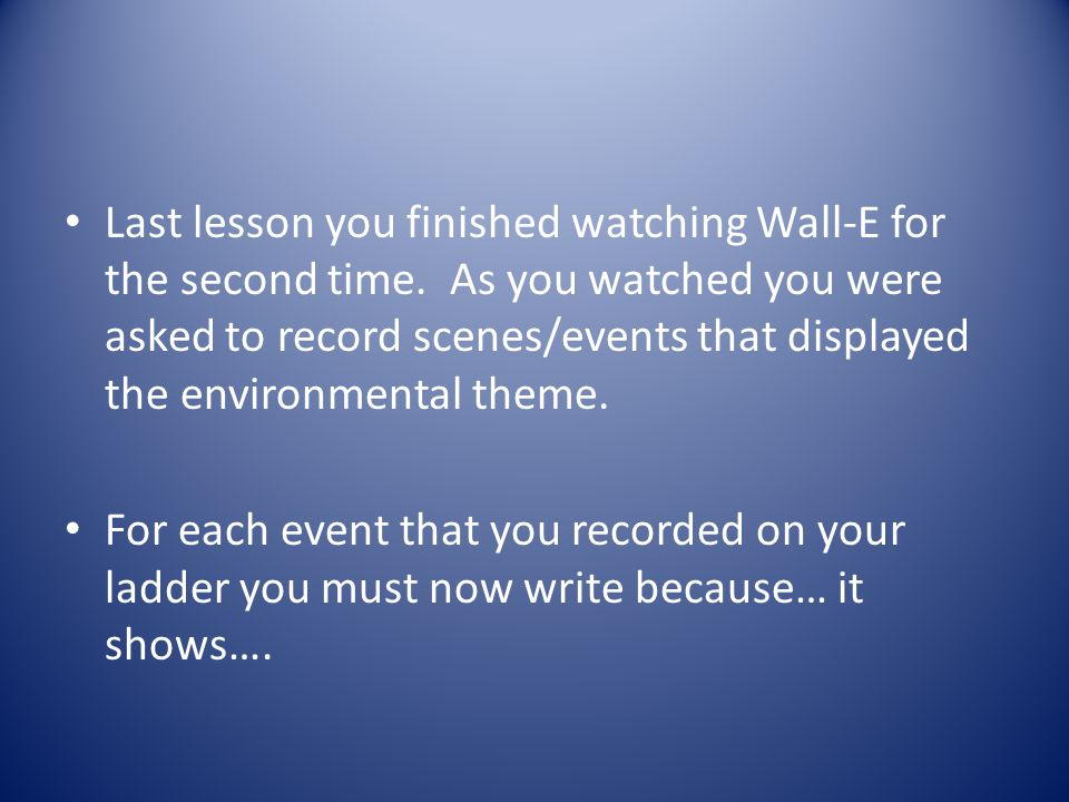 Last lesson you finished watching Wall-E for the second time
