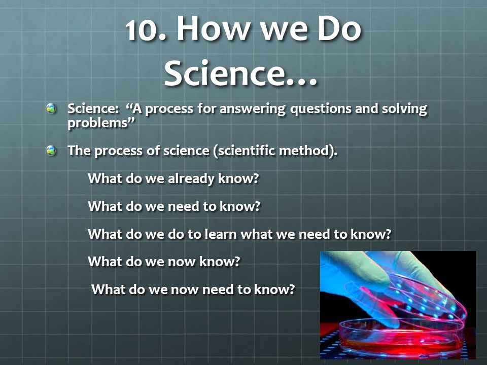 10. How we Do Science… Science: A process for answering questions and solving problems The process of science (scientific method).
