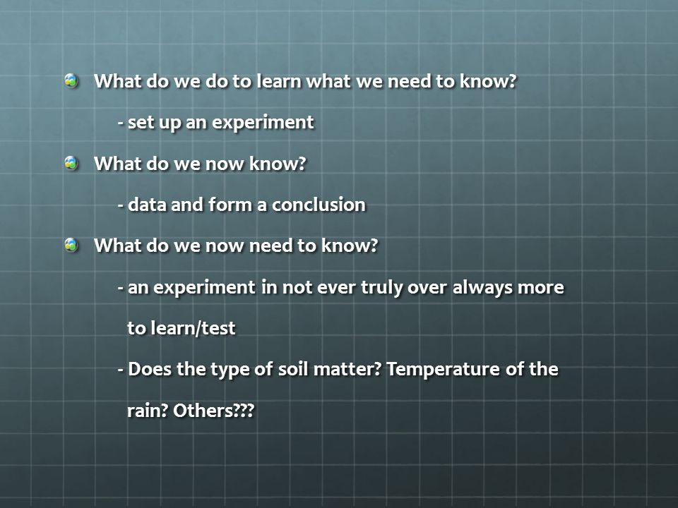 What do we do to learn what we need to know