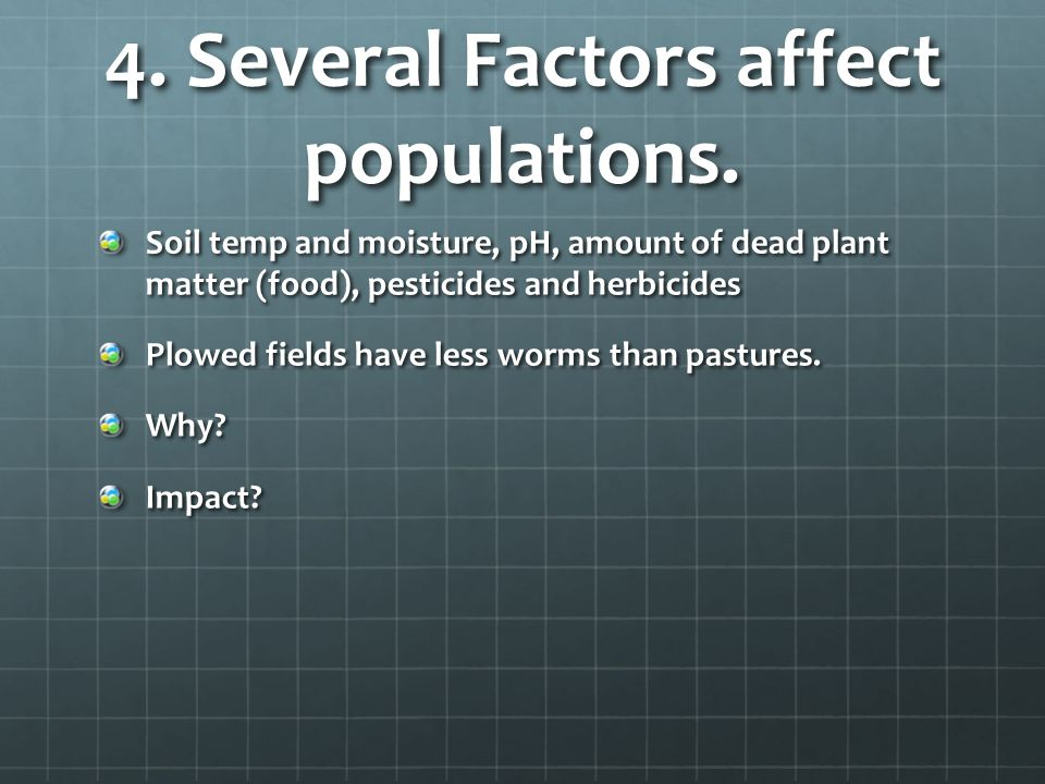 4. Several Factors affect populations.