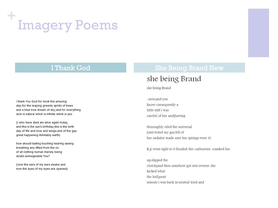 Imagery Poems I Thank God She Being Brand New