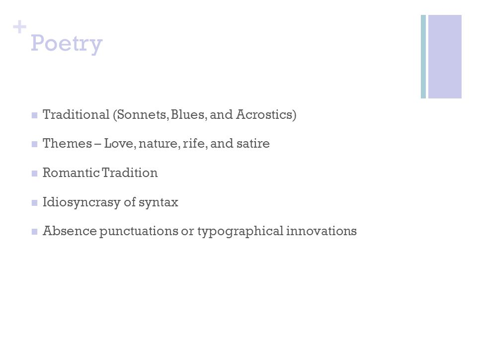 Poetry Traditional (Sonnets, Blues, and Acrostics)