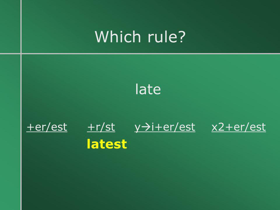 Which rule late +er/est +r/st yi+er/est x2+er/est latest