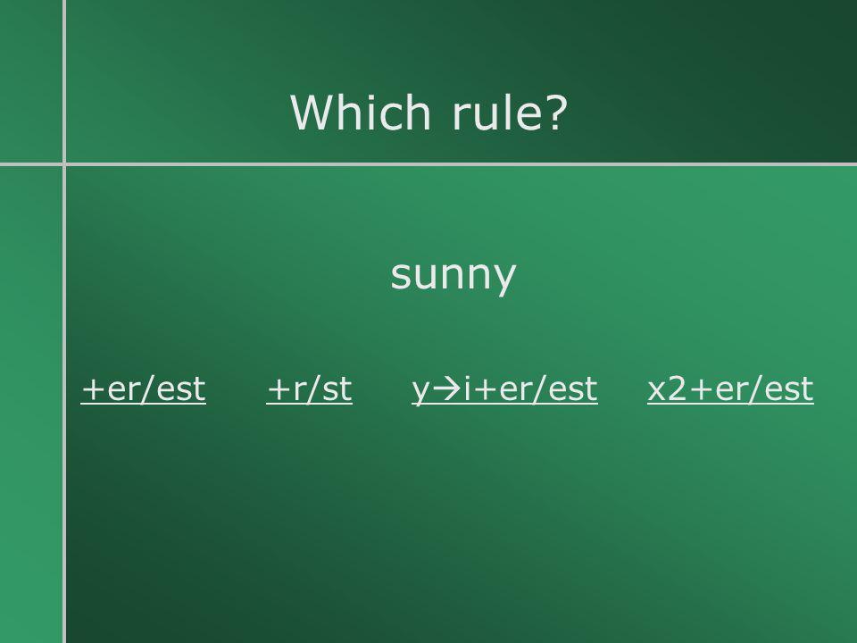 Which rule sunny +er/est +r/st yi+er/est x2+er/est
