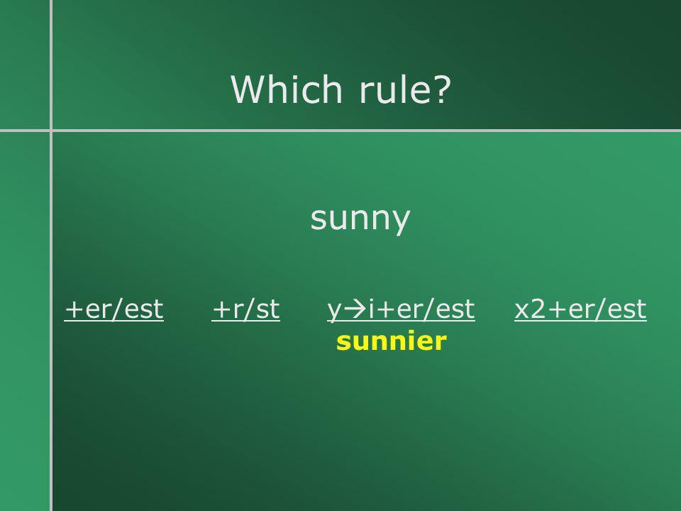 Which rule sunny +er/est +r/st yi+er/est x2+er/est sunnier