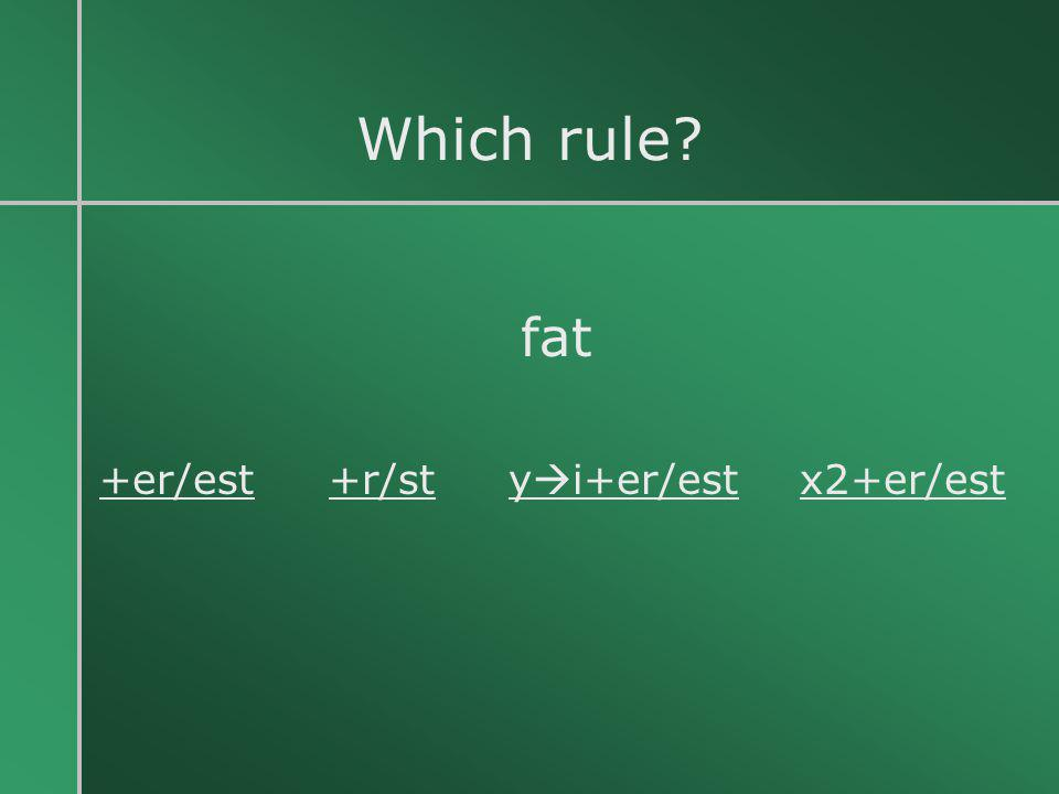 Which rule fat +er/est +r/st yi+er/est x2+er/est