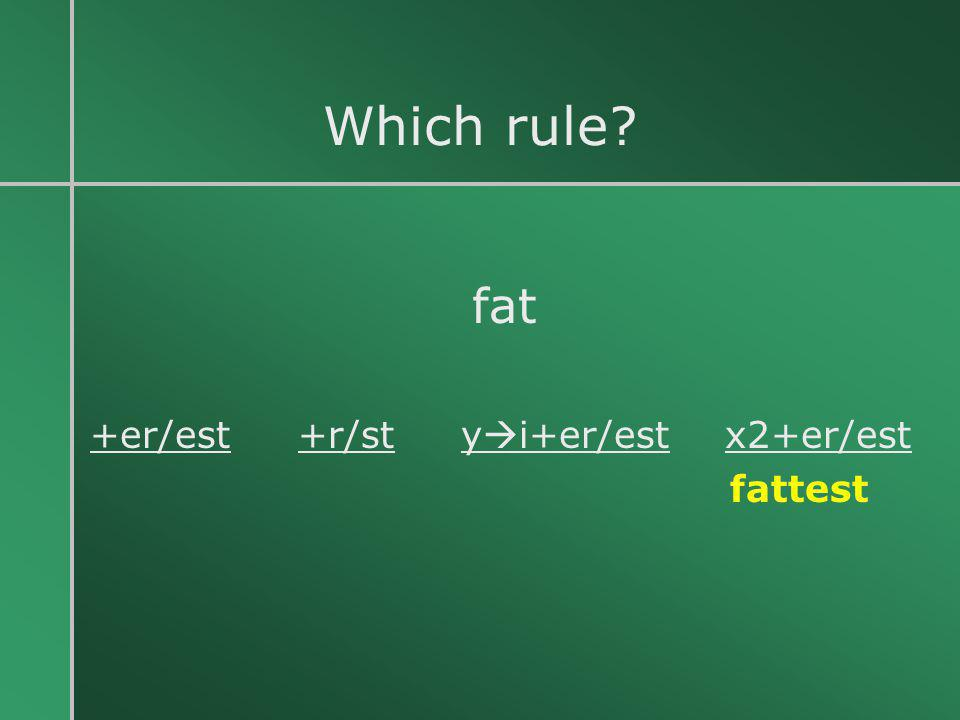 Which rule fat +er/est +r/st yi+er/est x2+er/est fattest