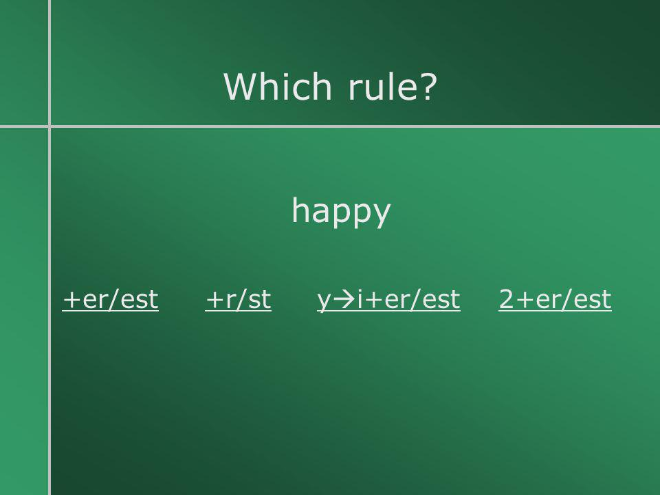 Which rule happy +er/est +r/st yi+er/est 2+er/est