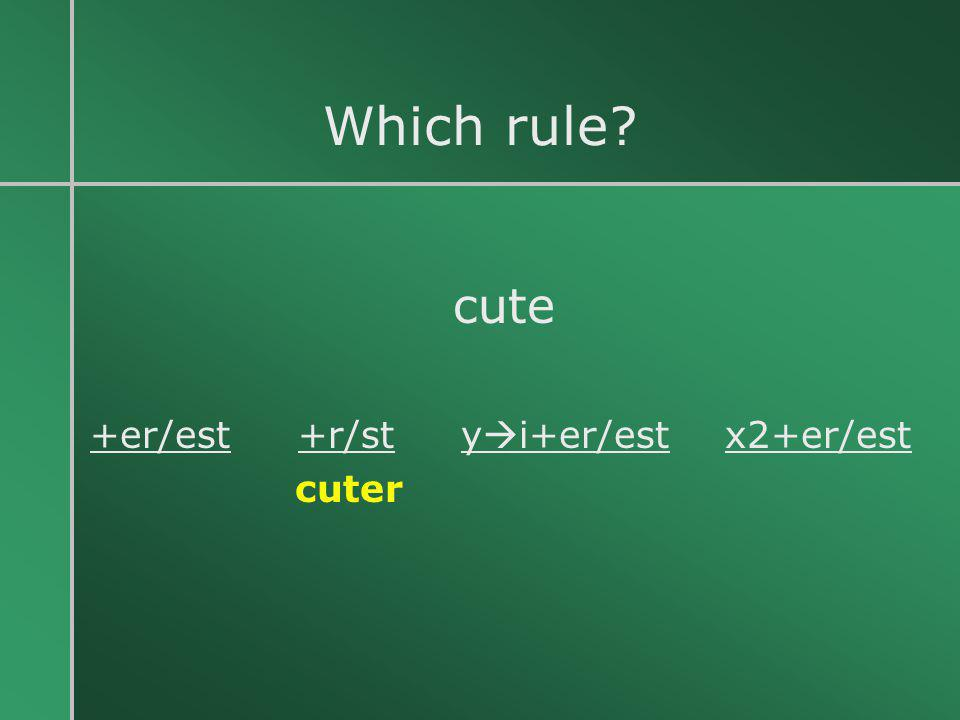 Which rule cute +er/est +r/st yi+er/est x2+er/est cuter