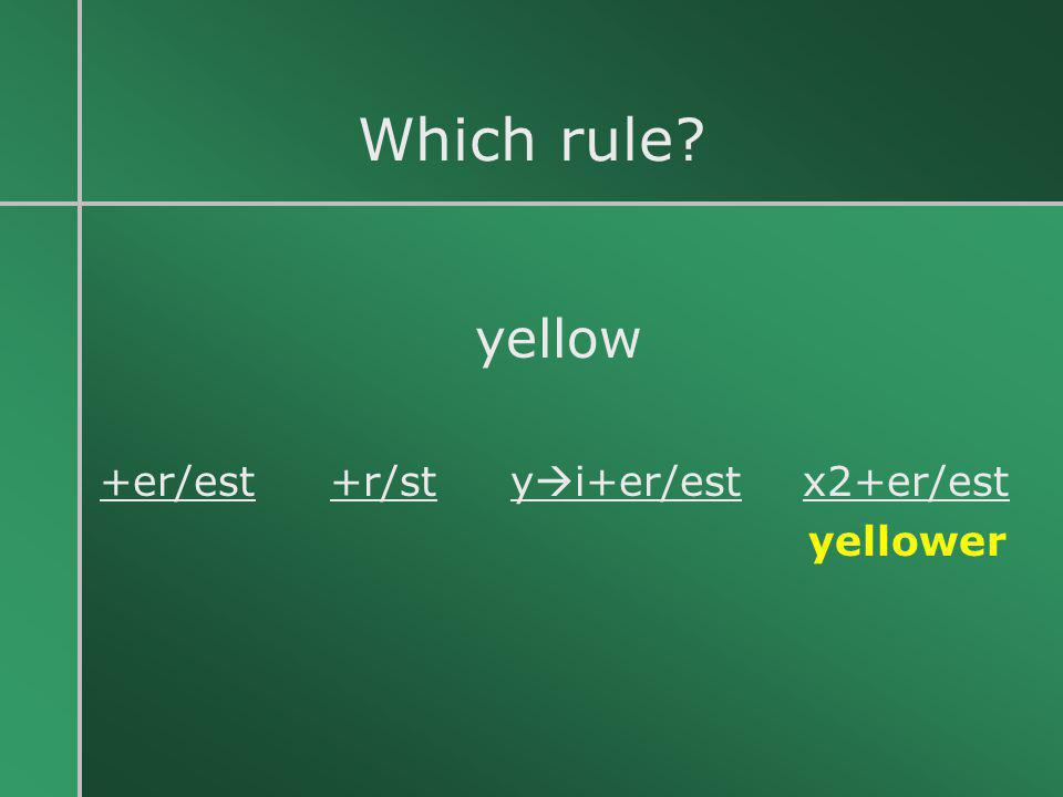Which rule yellow +er/est +r/st yi+er/est x2+er/est yellower