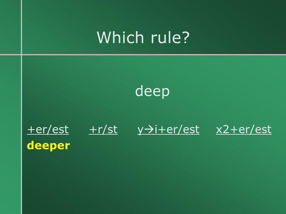 Which rule deep +er/est +r/st yi+er/est x2+er/est deeper