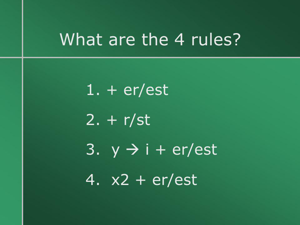 What are the 4 rules 1. + er/est 2. + r/st 3. y  i + er/est