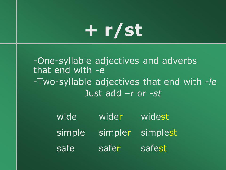 + r/st -Two-syllable adjectives that end with -le Just add –r or -st