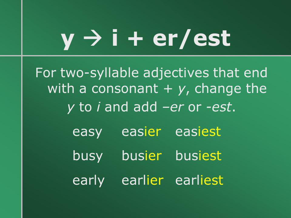 For two-syllable adjectives that end with a consonant + y, change the