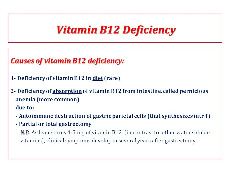 Vitamin B12 Deficiency Causes of vitamin B12 deficiency: