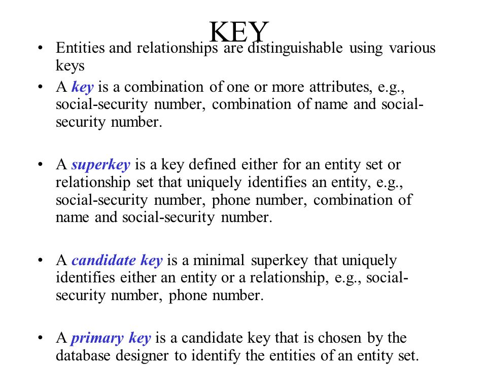 KEY Entities and relationships are distinguishable using various keys