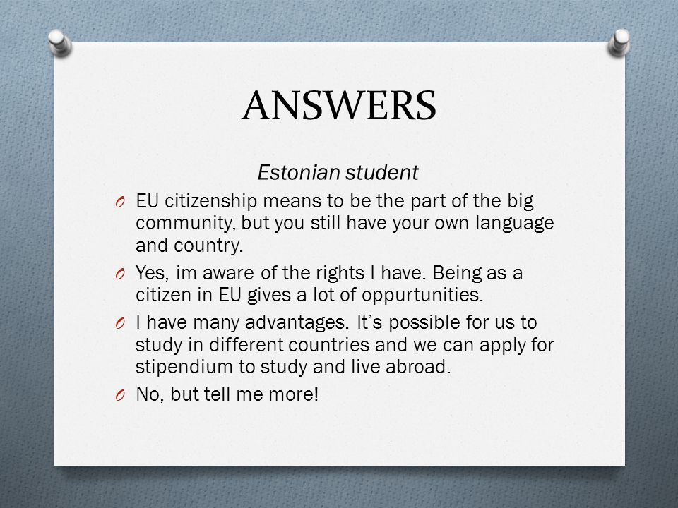 ANSWERS Estonian student