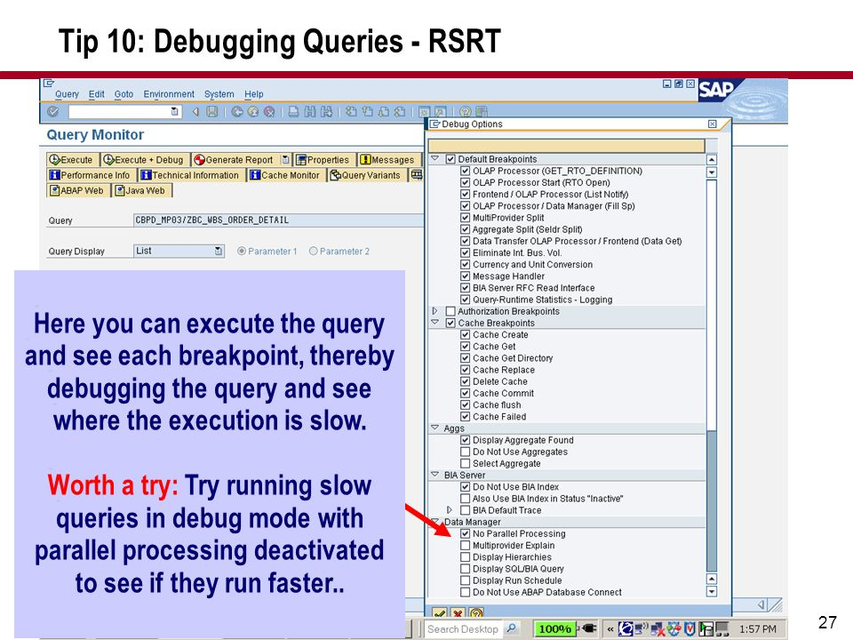 Tip 10: Debugging Queries - RSRT