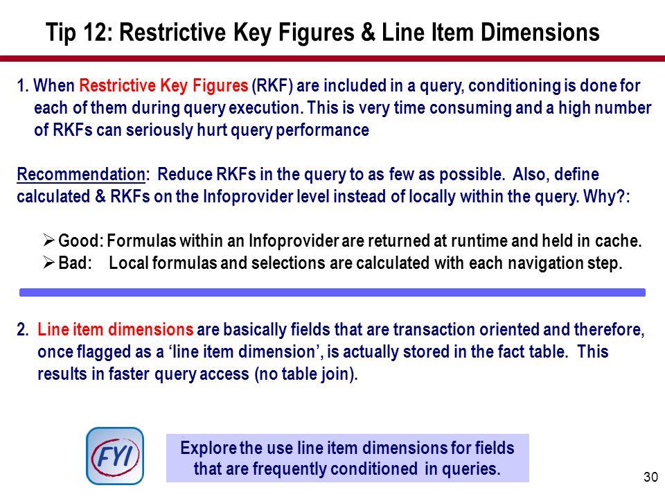 Tip 12: Restrictive Key Figures & Line Item Dimensions