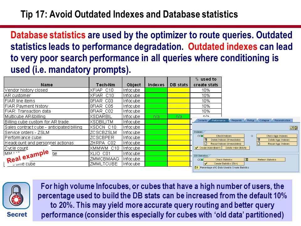 Tip 17: Avoid Outdated Indexes and Database statistics