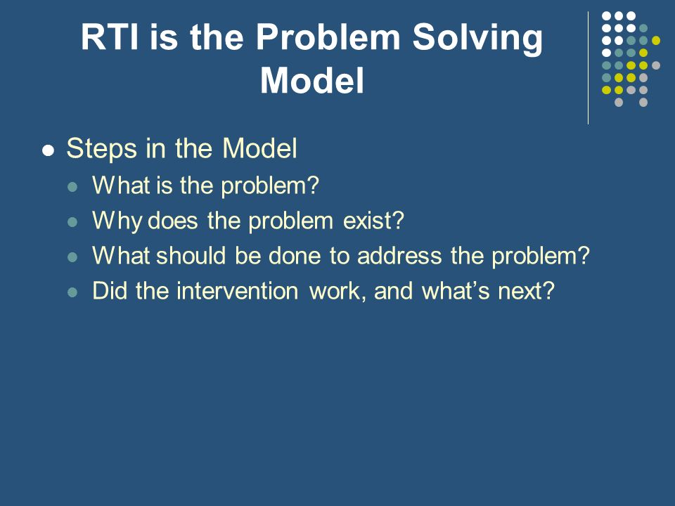 RTI is the Problem Solving Model