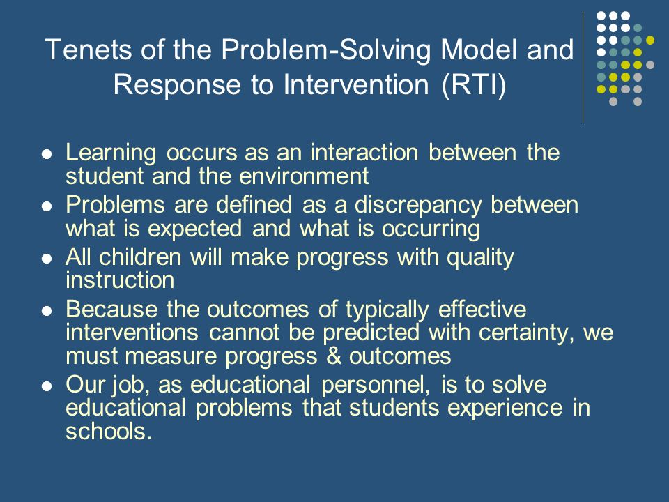 Tenets of the Problem-Solving Model and Response to Intervention (RTI)