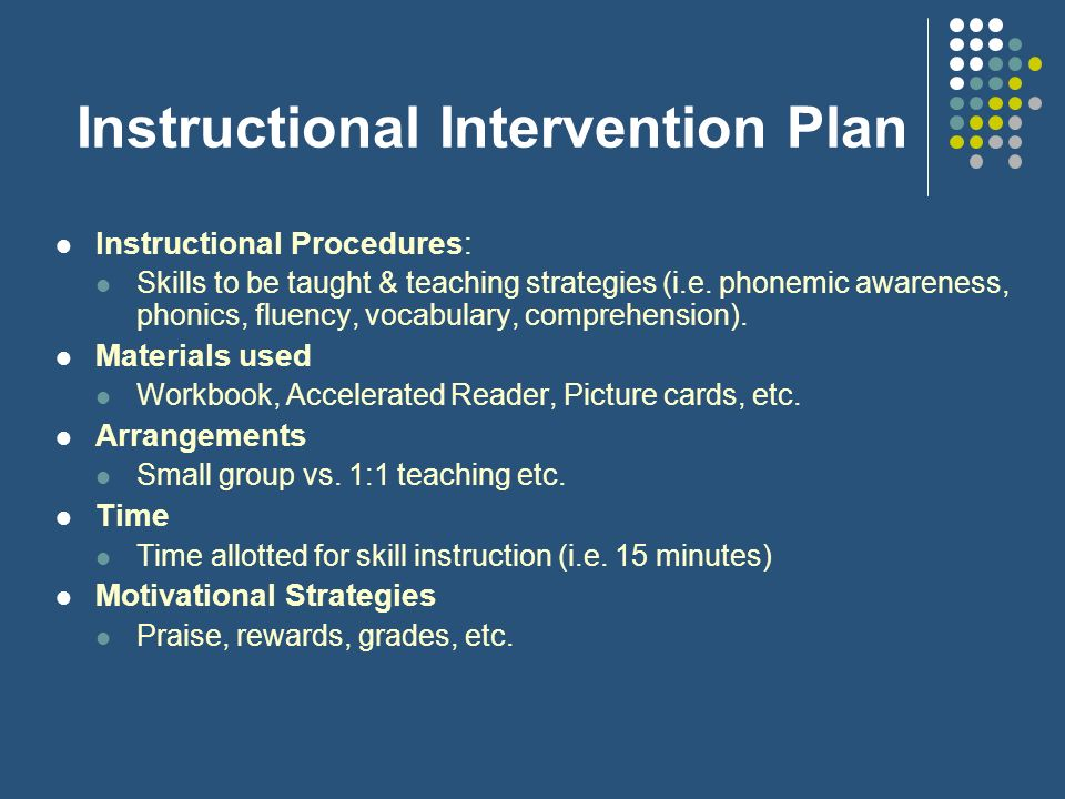 Instructional Intervention Plan