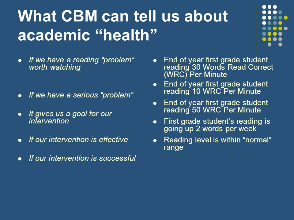 What CBM can tell us about academic health