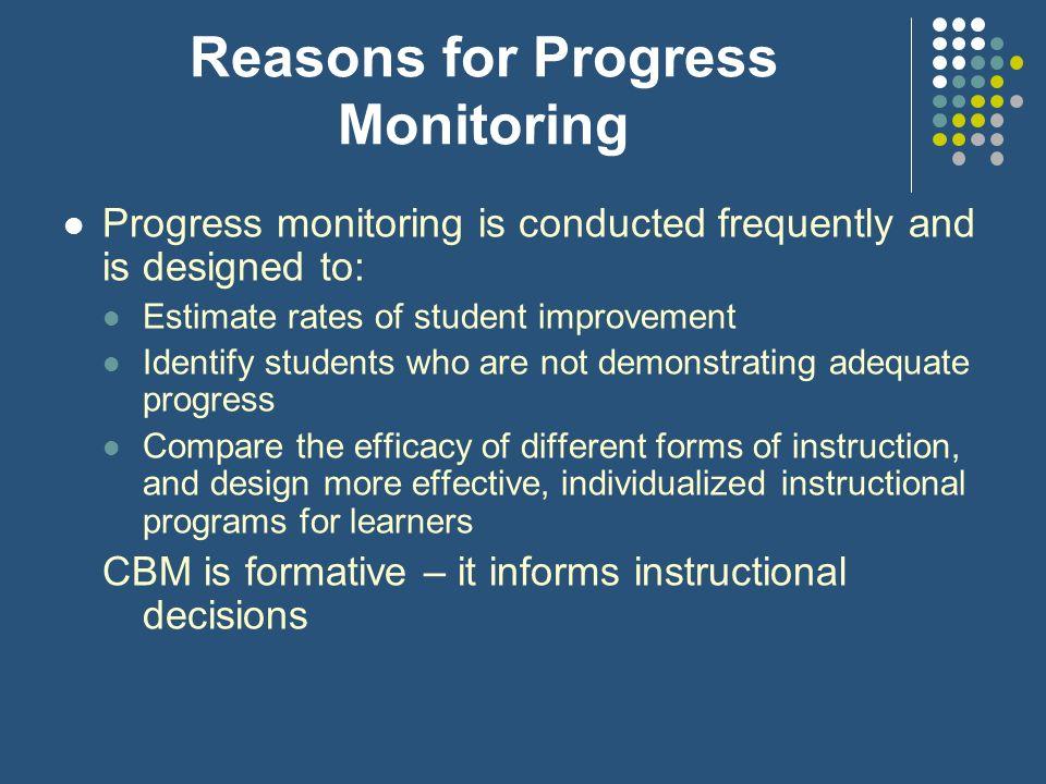 Reasons for Progress Monitoring