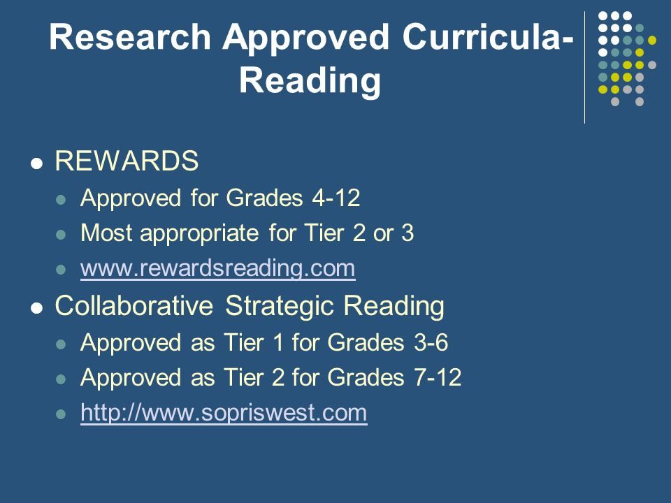 Research Approved Curricula- Reading