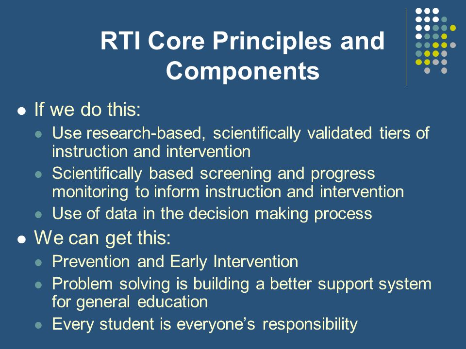 RTI Core Principles and Components