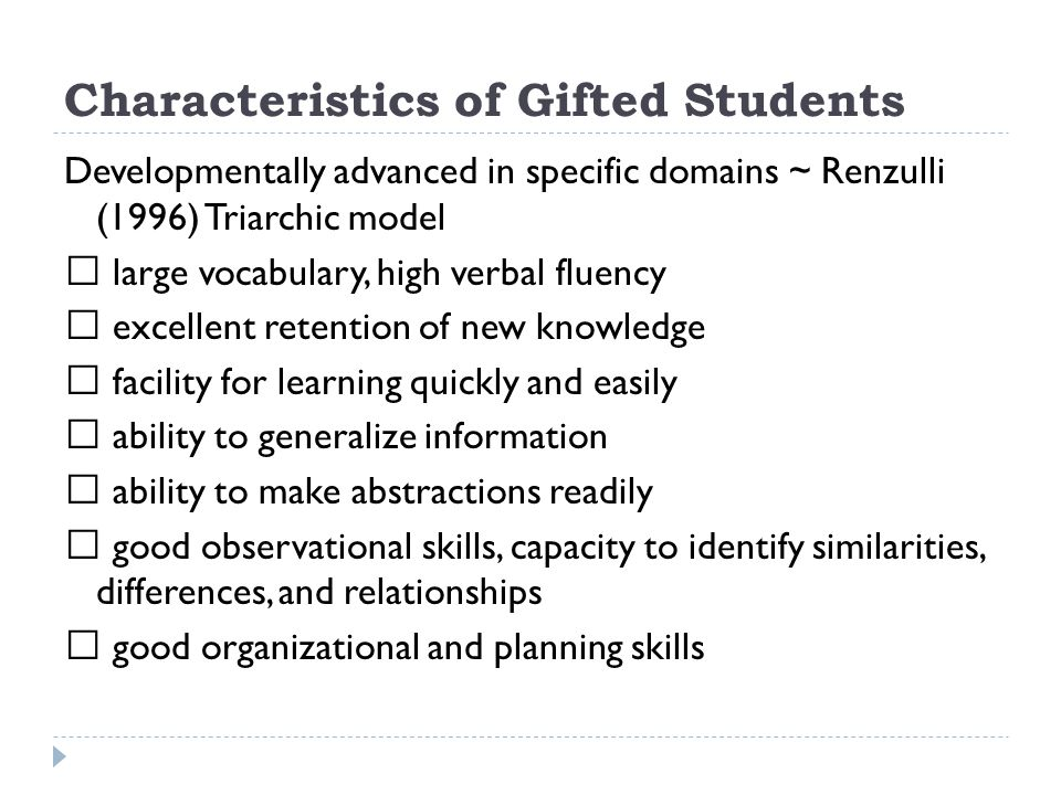 Characteristics of Gifted Students