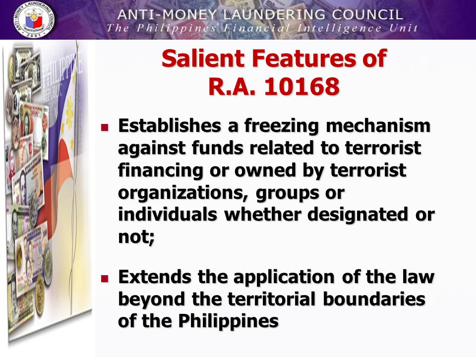 Salient Features of R.A. 10168