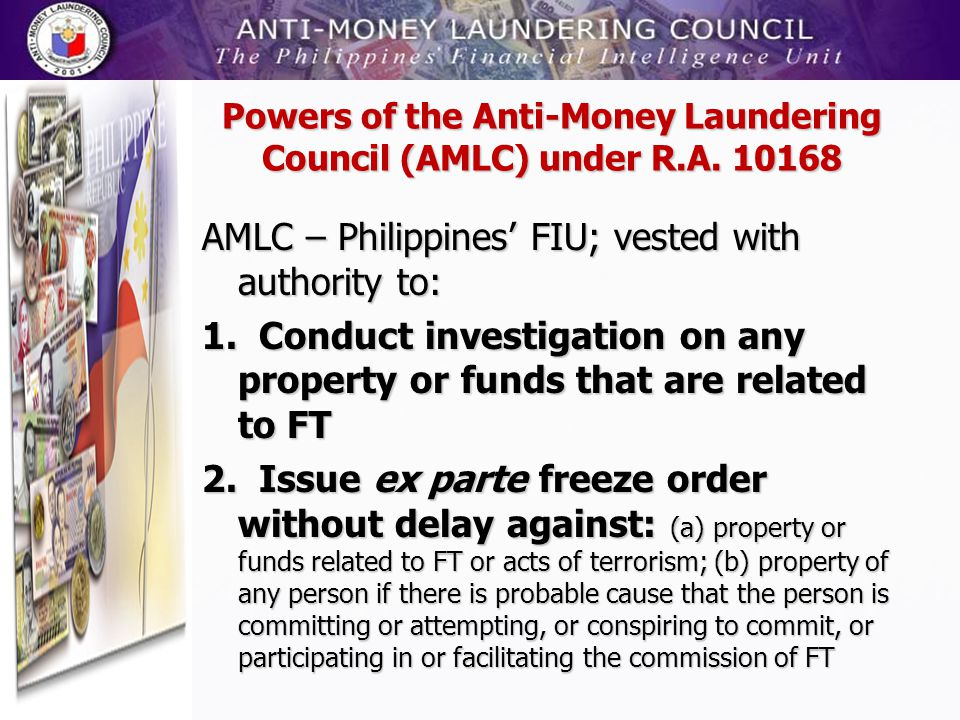 Powers of the Anti-Money Laundering Council (AMLC) under R.A