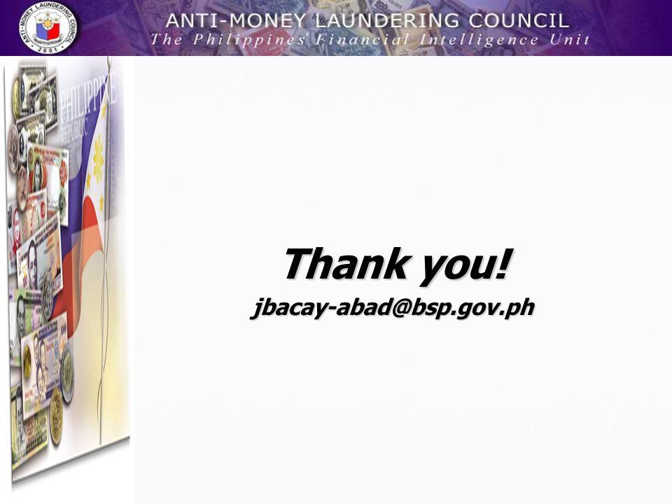 Thank you! jbacay-abad@bsp.gov.ph