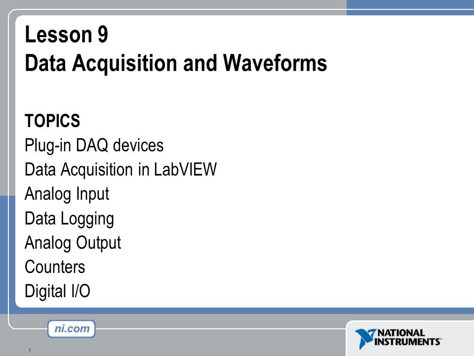 Lesson 9 Data Acquisition and Waveforms