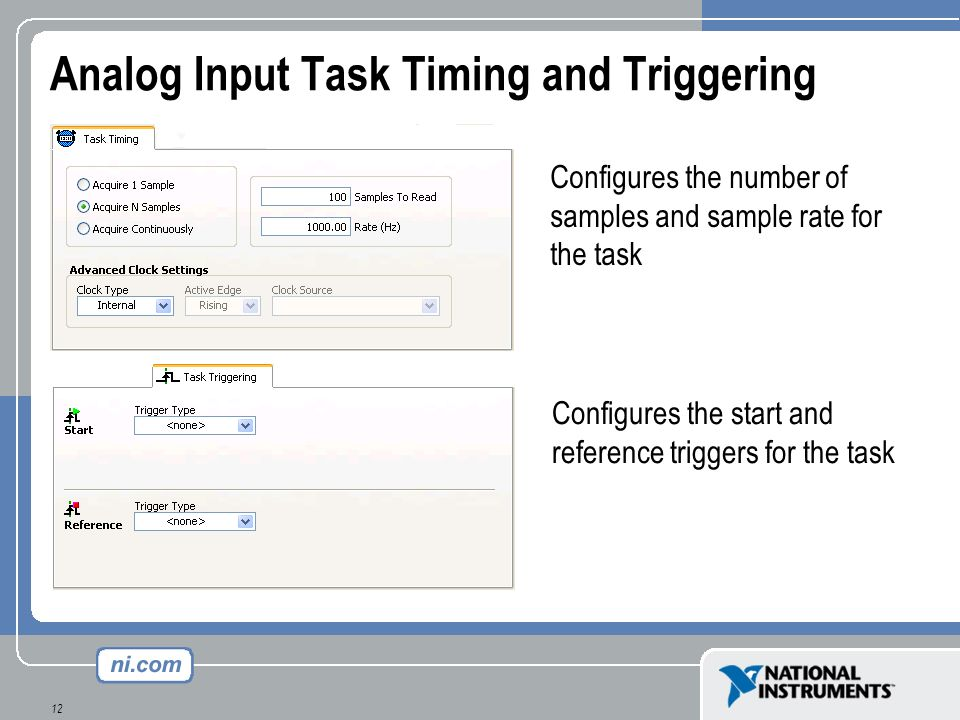 Analog Input Task Timing and Triggering