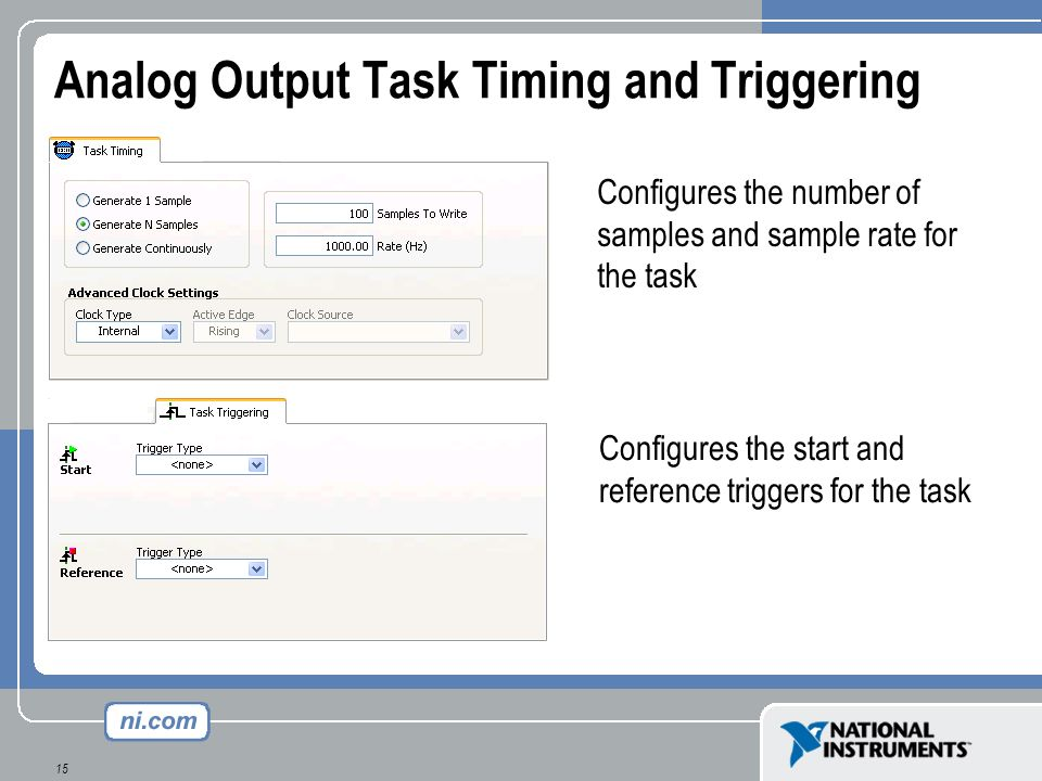 Analog Output Task Timing and Triggering