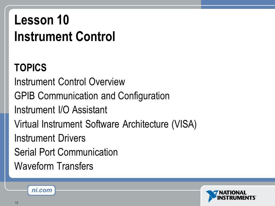 Lesson 10 Instrument Control