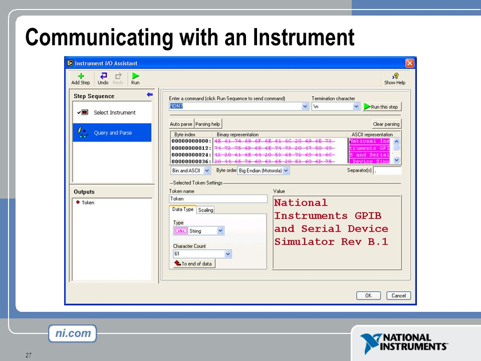 Communicating with an Instrument