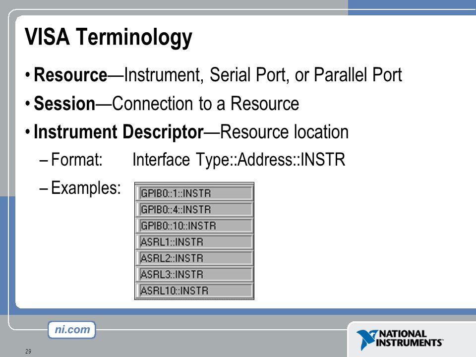 VISA Terminology Resource—Instrument, Serial Port, or Parallel Port