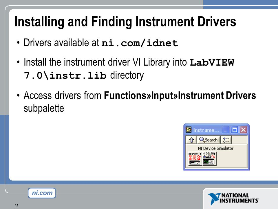 Installing and Finding Instrument Drivers