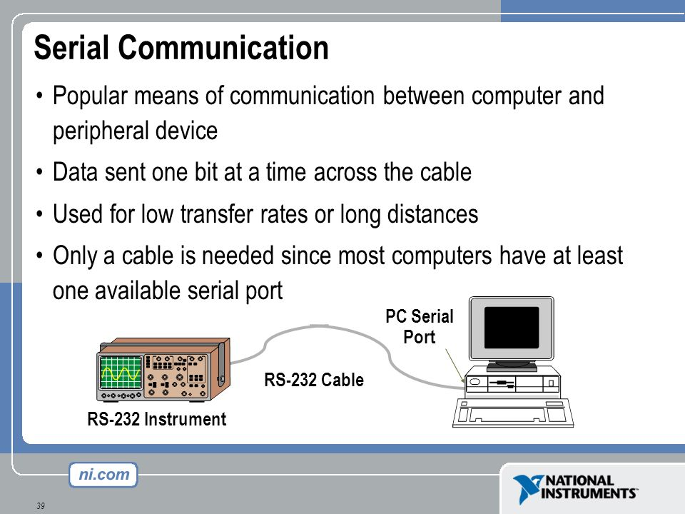 Serial Communication Popular means of communication between computer and peripheral device. Data sent one bit at a time across the cable.