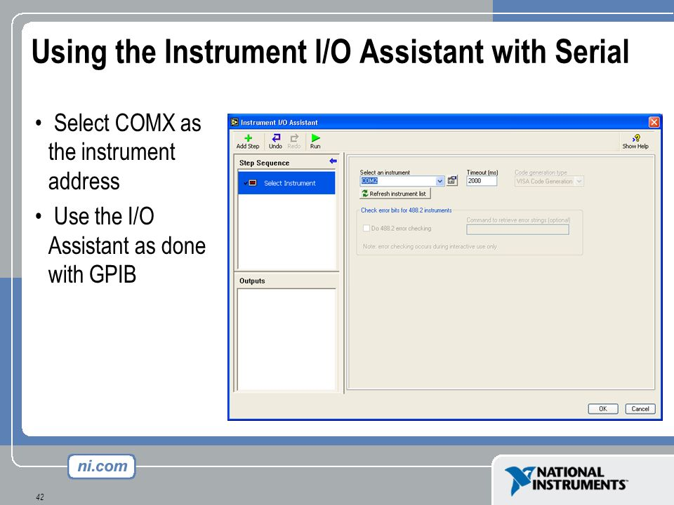 Using the Instrument I/O Assistant with Serial