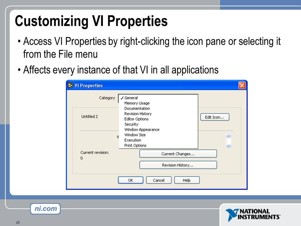 Customizing VI Properties